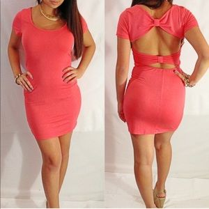 Coral open back dress